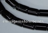 CAG2975 15.5 inches 8*14mm tube black line agate beads