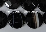 CAG3076 15.5 inches 20mm faceted coin black line agate beads