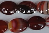 CAG3195 15.5 inches 15*20mm oval red line agate beads