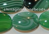 CAG3465 15.5 inches 22*30mm oval green line agate beads