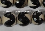 CAG3845 15.5 inches 16mm faceted round tibetan agate beads wholesale