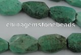 CAG3940 15.5 inches 13*19mm faceted freeform green grass agate beads
