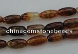 CAG4126 15.5 inches 6*12mm rice dragon veins agate beads