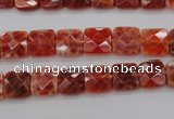 CAG4250 15.5 inches 8*8mm faceted square natural fire agate beads