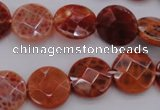 CAG4266 15.5 inches 15mm faceted coin natural fire agate beads