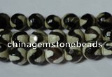 CAG4673 15.5 inches 8mm faceted round tibetan agate beads wholesale
