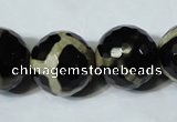 CAG4685 15.5 inches 18mm faceted round tibetan agate beads wholesale