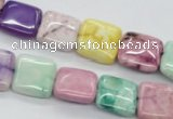 CAG4910 15.5 inches 12*12mm square dyed white agate beads