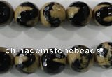 CAG5164 15 inches 12mm faceted round tibetan agate beads wholesale