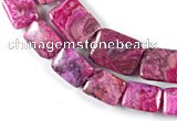CAG523 Multi sizes rectangle fuchsia crazy lace agate beads wholesale