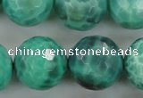 CAG5316 15.5 inches 18mm faceted round peafowl agate gemstone beads
