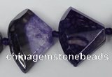 CAG5583 15 inches 20*30mm faceted triangle dragon veins agate beads
