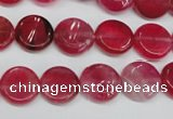CAG5630 15 inches 12mm flat round dragon veins agate beads