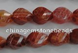 CAG582 15.5 inches 10*14mm faceted & twisted rice natural fire agate beads