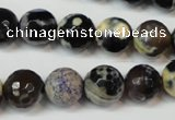 CAG5822 15 inches 12mm faceted round fire crackle agate beads