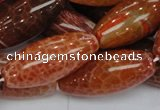 CAG610 15.5 inches 13*35mm rice natural fire agate beads wholesale