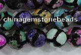 CAG6130 15 inches 8mm faceted round tibetan agate gemstone beads
