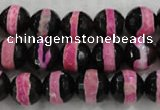 CAG6157 15 inches 14mm faceted round tibetan agate gemstone beads