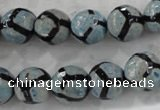 CAG6186 15 inches 10mm faceted round tibetan agate gemstone beads