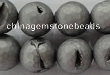 CAG6237 15 inches 18mm faceted round plated druzy agate beads