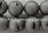 CAG6238 15 inches 20mm faceted round plated druzy agate beads