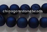 CAG6242 15 inches 8mm round plated druzy agate beads wholesale
