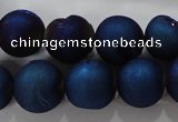 CAG6246 15 inches 16mm round plated druzy agate beads wholesale