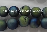 CAG6264 15 inches 12mm round plated druzy agate beads wholesale