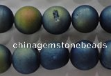 CAG6265 15 inches 14mm round plated druzy agate beads wholesale