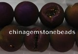 CAG6305 15 inches 14mm round plated druzy agate beads wholesale