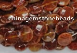 CAG636 15.5 inches 10mm faceted coin natural fire agate beads