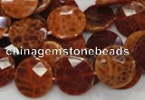 CAG638 15.5 inches 16mm faceted coin natural fire agate beads