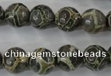 CAG6382 15 inches 8mm faceted round tibetan agate gemstone beads