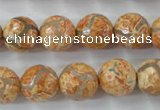 CAG6421 15 inches 14mm faceted round tibetan agate gemstone beads