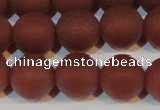 CAG6556 15.5 inches 12mm round matte red agate beads wholesale