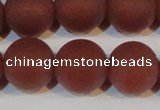 CAG6559 15.5 inches 18mm round matte red agate beads wholesale