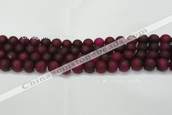 CAG6710 15 inches 8mm round plum pilates agate beads