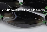 CAG6916 15.5 inches 18*65mm faceted rice line agate beads