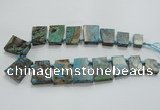 CAG7070 Top drilled 15*20mm - 25*30mm trapezoid ocean agate beads