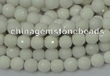 CAG710 15.5 inches 6mm faceted round white agate gemstone beads