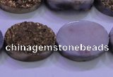 CAG8193 7.5 inches 18*25mm oval glod plated druzy agate beads