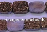CAG8243 7.5 inches 15*20mm rectangle glod plated druzy agate beads