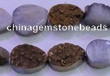 CAG8273 7.5 inches 10*14mm teardrop gold plated druzy agate beads