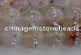 CAG8783 15.5 inches 12mm round agate with rhinestone beads