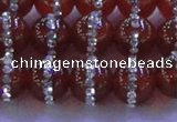 CAG8802 15.5 inches 10mm round agate with rhinestone beads