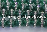 CAG8810 15.5 inches 6mm round agate with rhinestone beads
