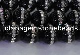 CAG8816 15.5 inches 8mm round agate with rhinestone beads