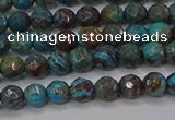 CAG9480 15.5 inches 4mm faceted round blue crazy lace agate beads