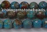 CAG9482 15.5 inches 8mm faceted round blue crazy lace agate beads