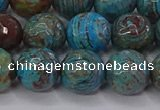 CAG9483 15.5 inches 10mm faceted round blue crazy lace agate beads